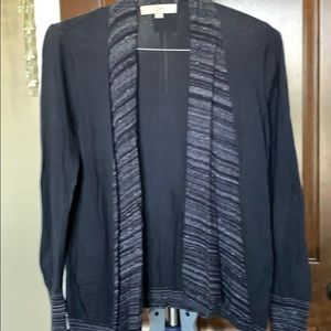Loft Navy & Grey Sweater Size M No Button Wrap EUC